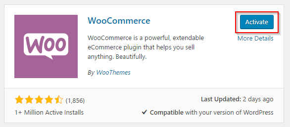 Activating WooCommerce