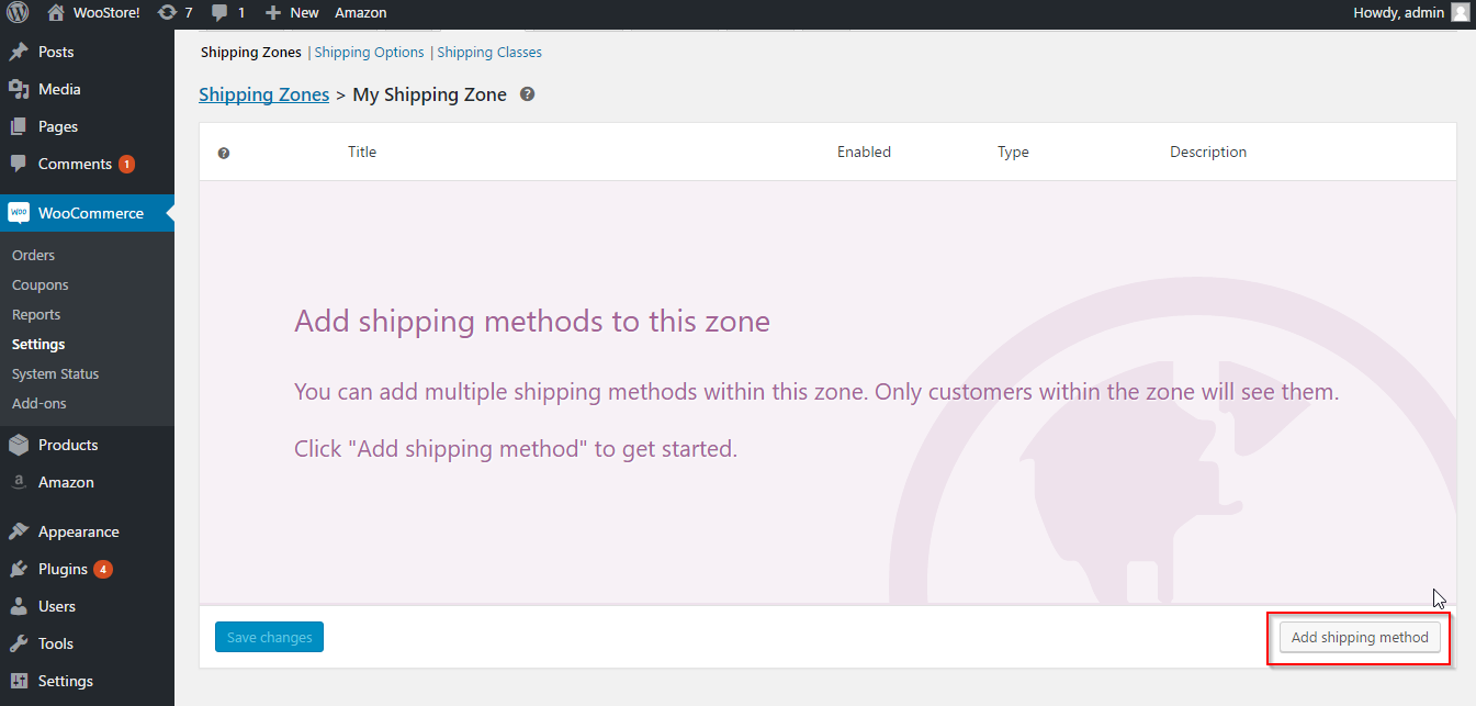 Adding shipping method