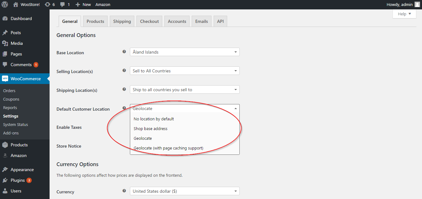 Setting up default customer location