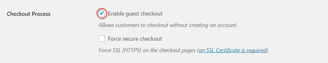 Enabling guest checkout