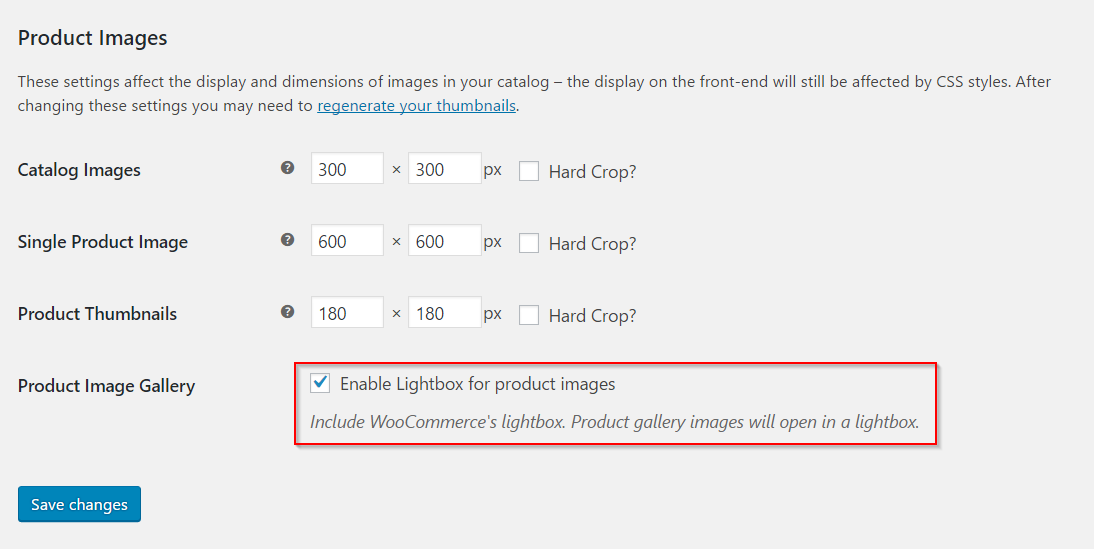 Enabling lightbox for product images