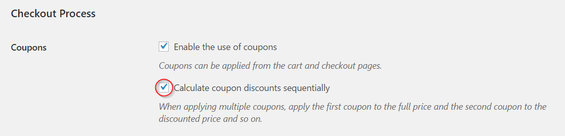 Enabling coupons sequentially