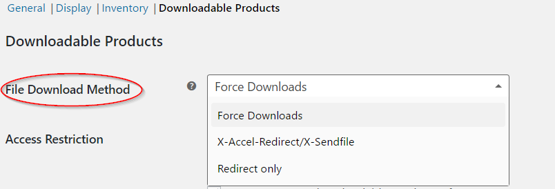 Setting file download method