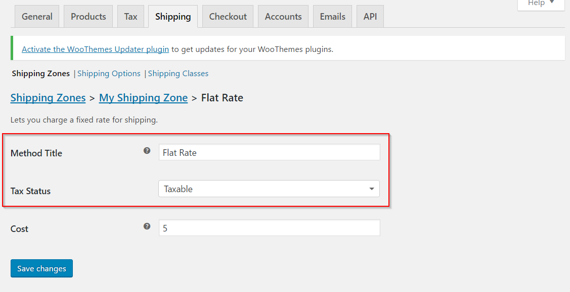 Setting up title and tax settings for flat rate shipping