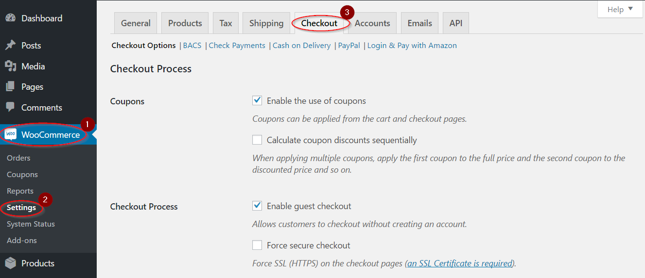 Navigating checkout settings
