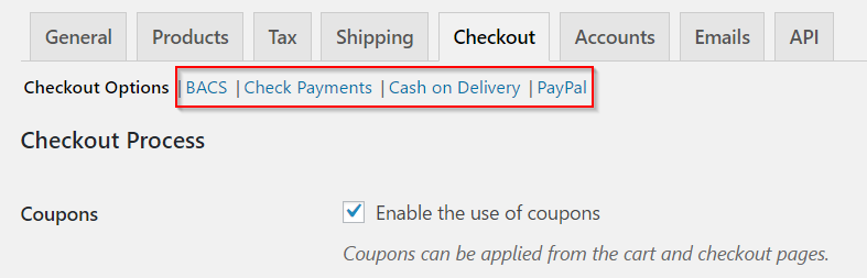 Payment gateway settings