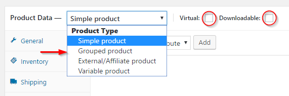 Setting product type