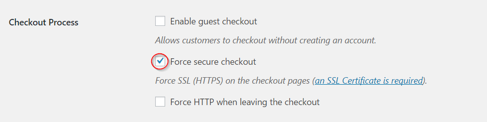 Setting secure checkout
