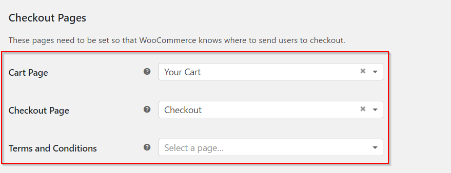 Setting up checkout pages