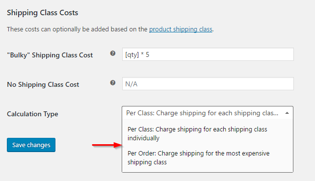 Calculating shipping rates with multiple shipping classes