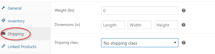 Product shipping settings