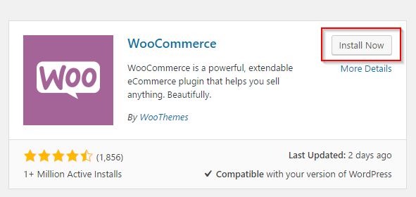 Installing WooCommerce