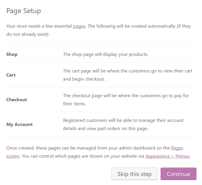 Creating base pages for the store