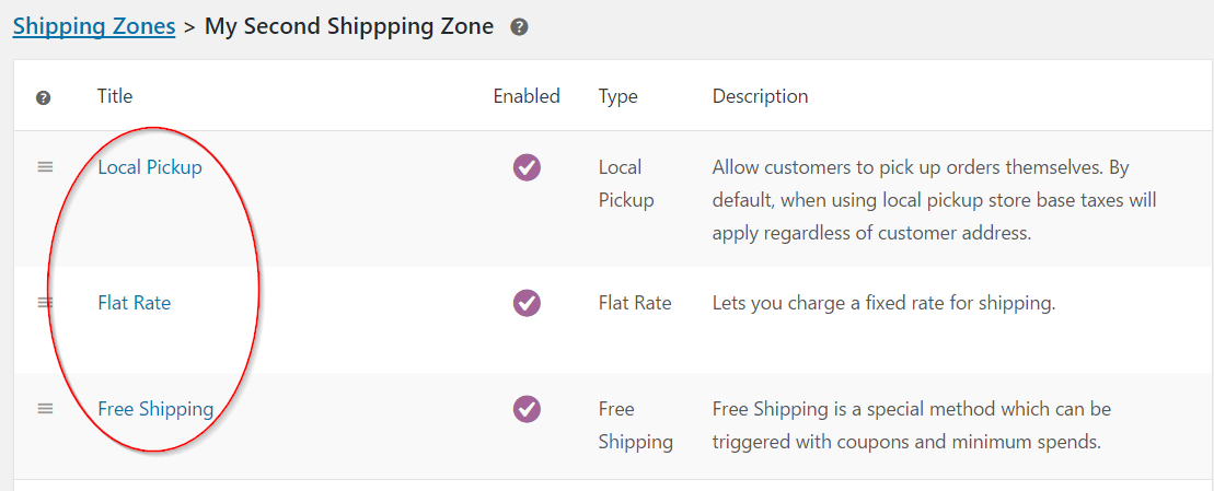 Default shipping methods for the second zone