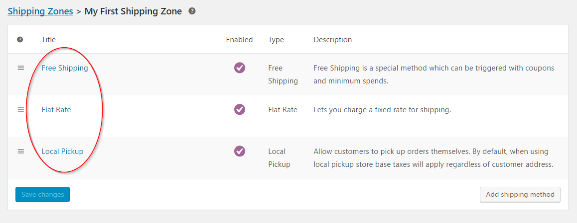 Default shipping order for the first zone