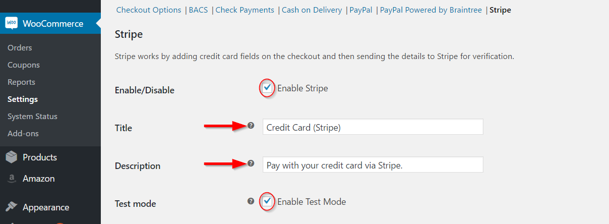 Enabling and Editing Stripe Payment Gateway