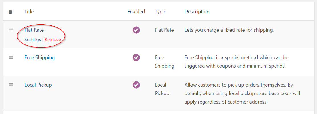 Selecting flat rate shipping