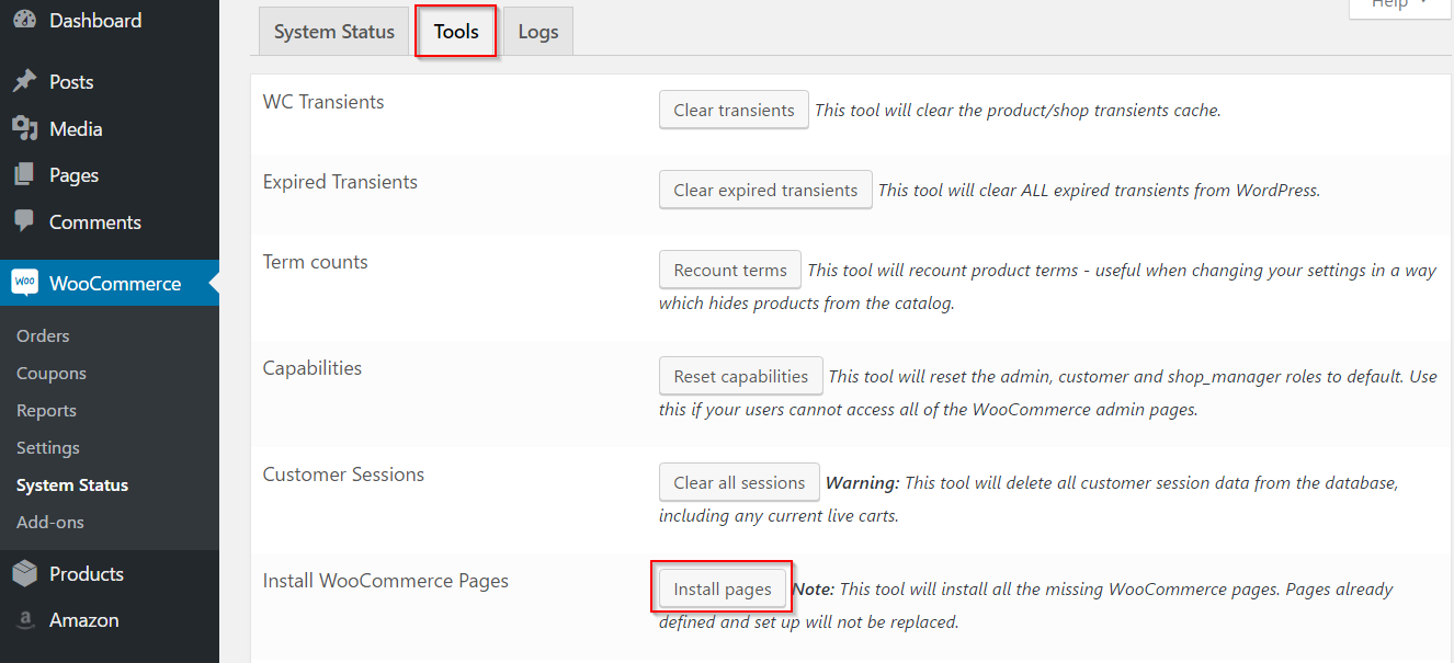 Installing WooCommerce pages