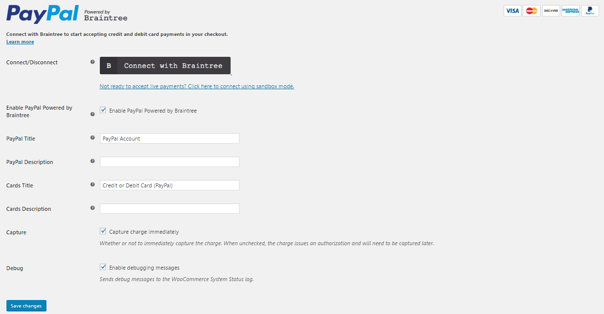 Overview of the PayPal Settings page