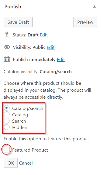 Catalog settings for the product