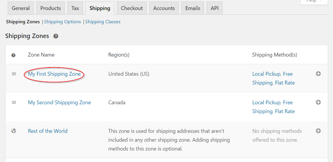 Navigating to a specific shipping method