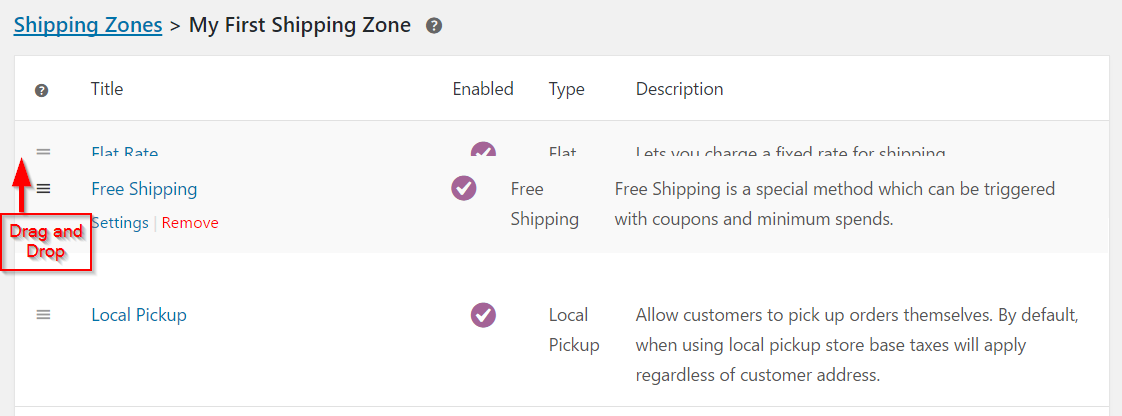Changing the default shipping method for a zone