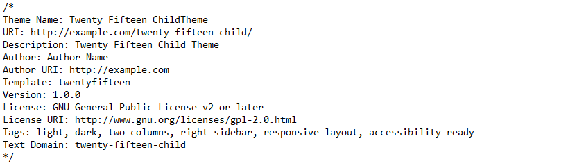 Example style sheet header for child theme