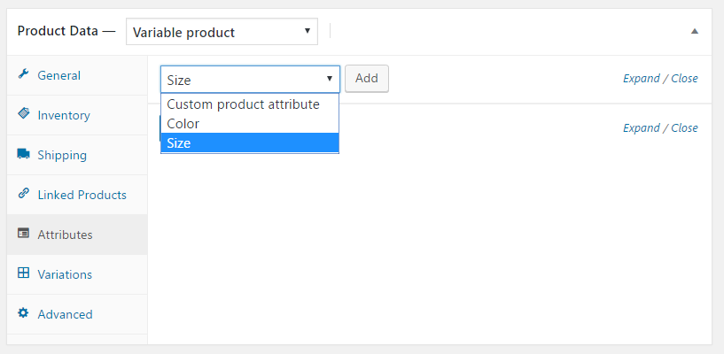 Selecting custom product attribute