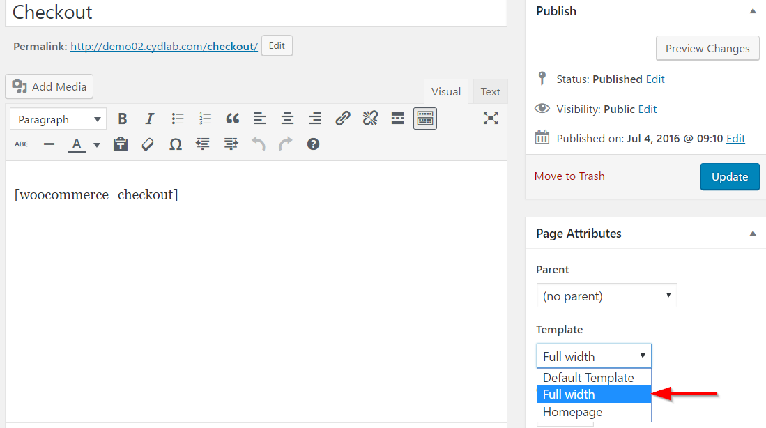 Setting full width template