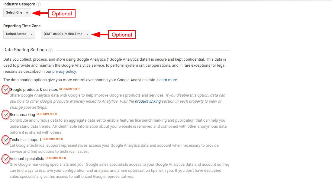 Optional data for Google Analytics Sign up