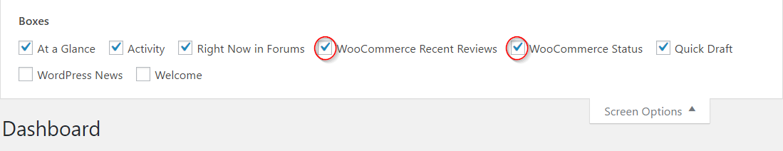 Choosing WooCommerce dashboard widgets