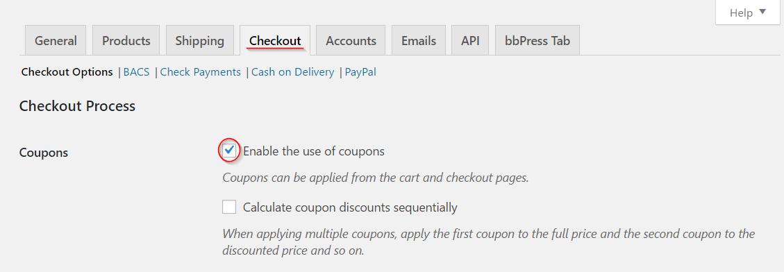 Enabling coupons