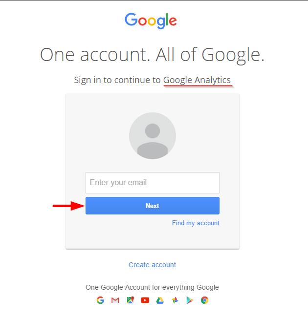 Logging in to Google Analytics