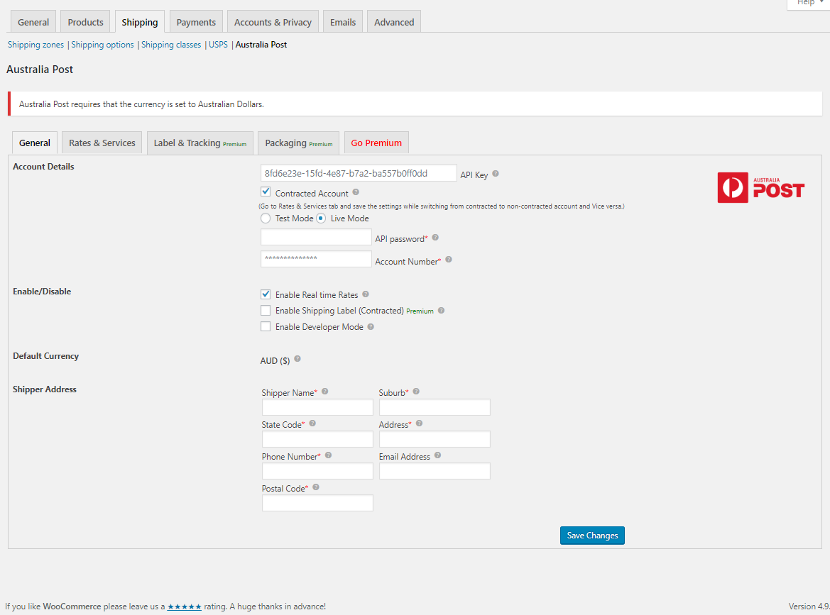 Screenshot of WooCommerce Australia Post Shipping Plugin