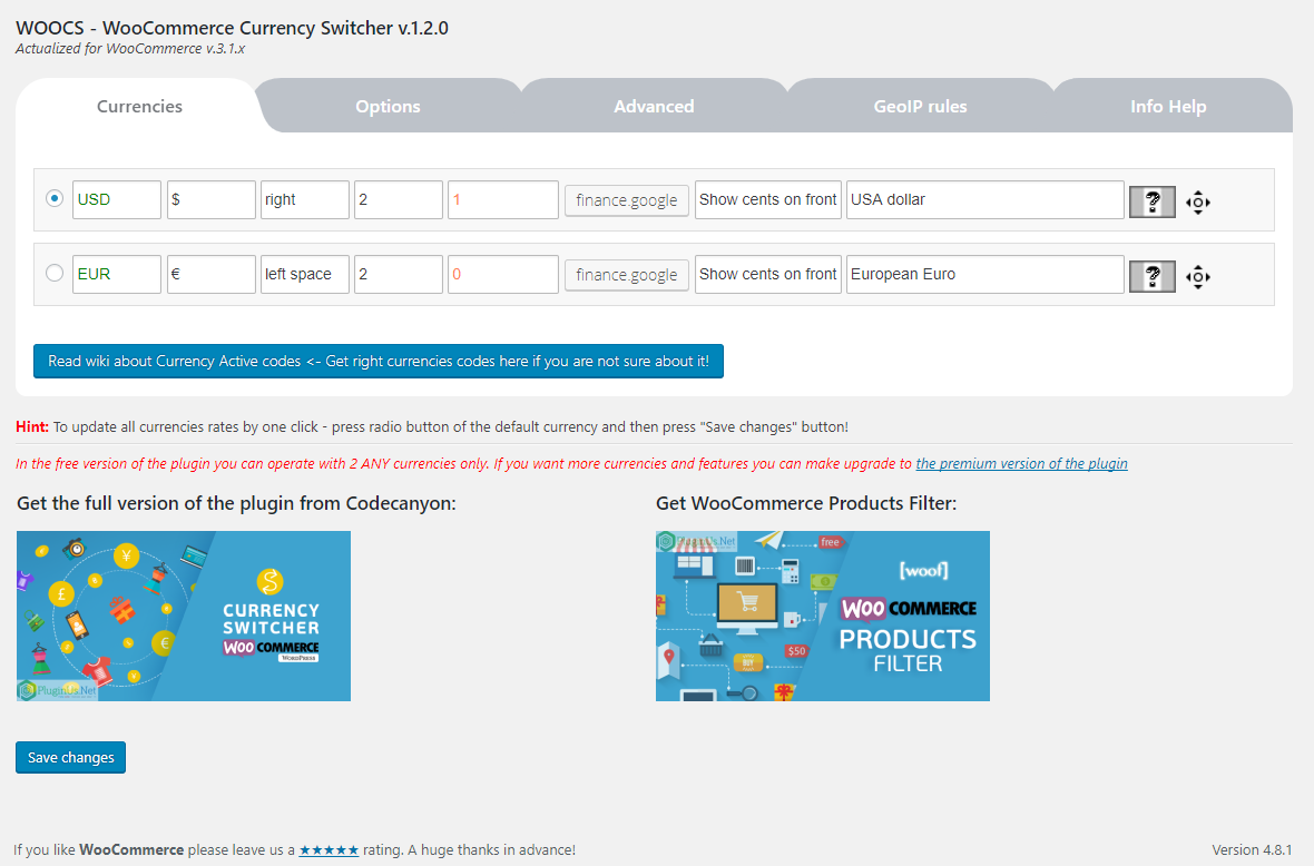 Currency converter settings page