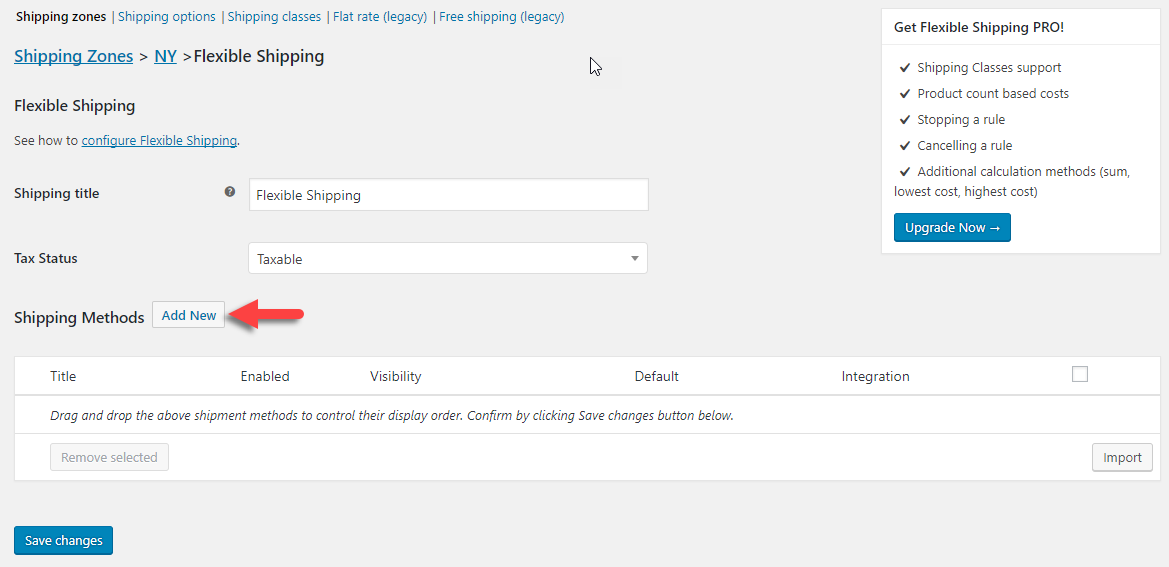 You can specify the terms of your Flexible Shipping method