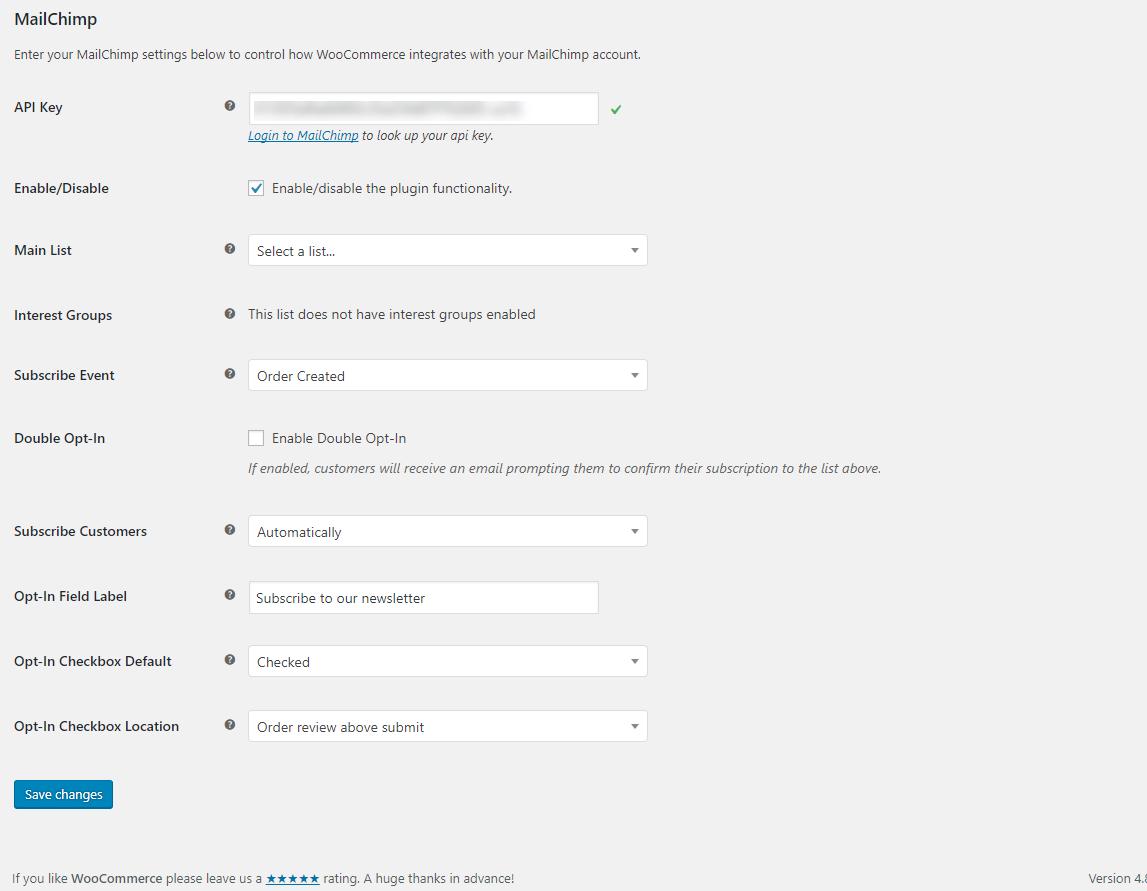 The settings are pretty straightforward