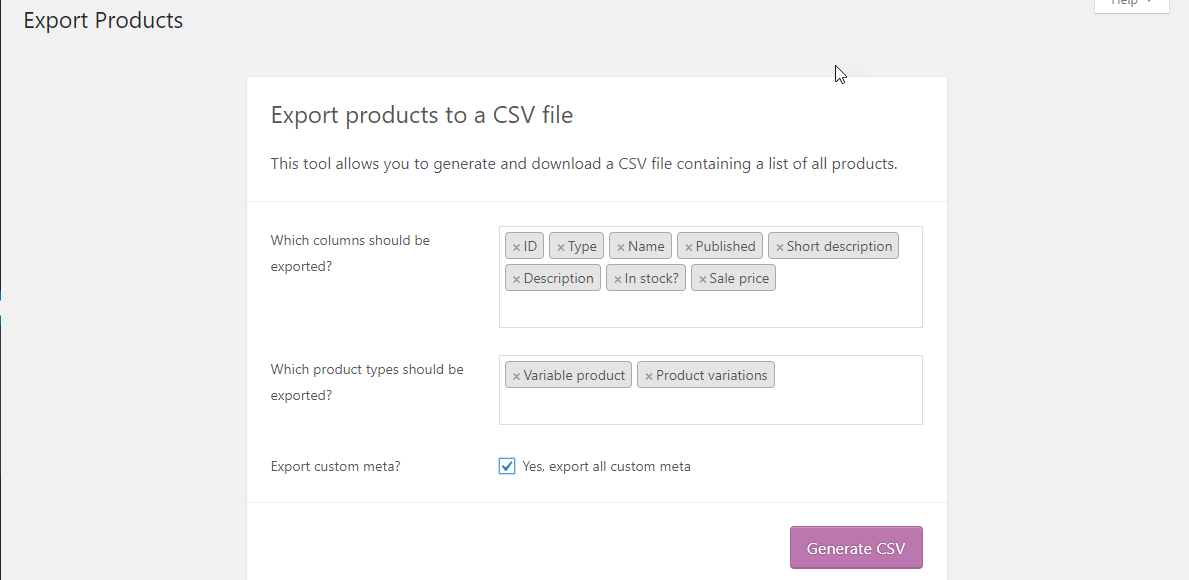 Select the required fields and product types to export
