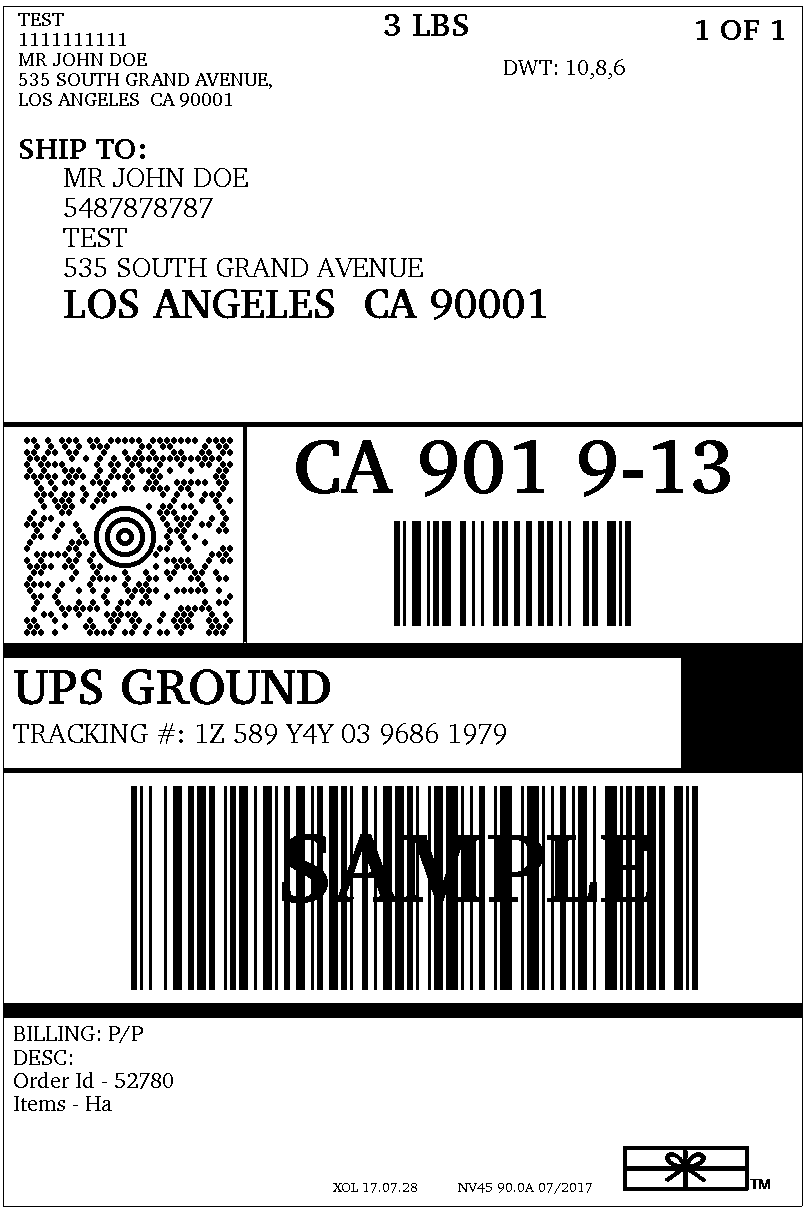 Shipping label can be printed in multiple formats