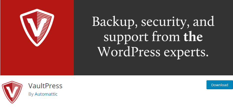 Backups with VaultPress protects you from a lot of security threats