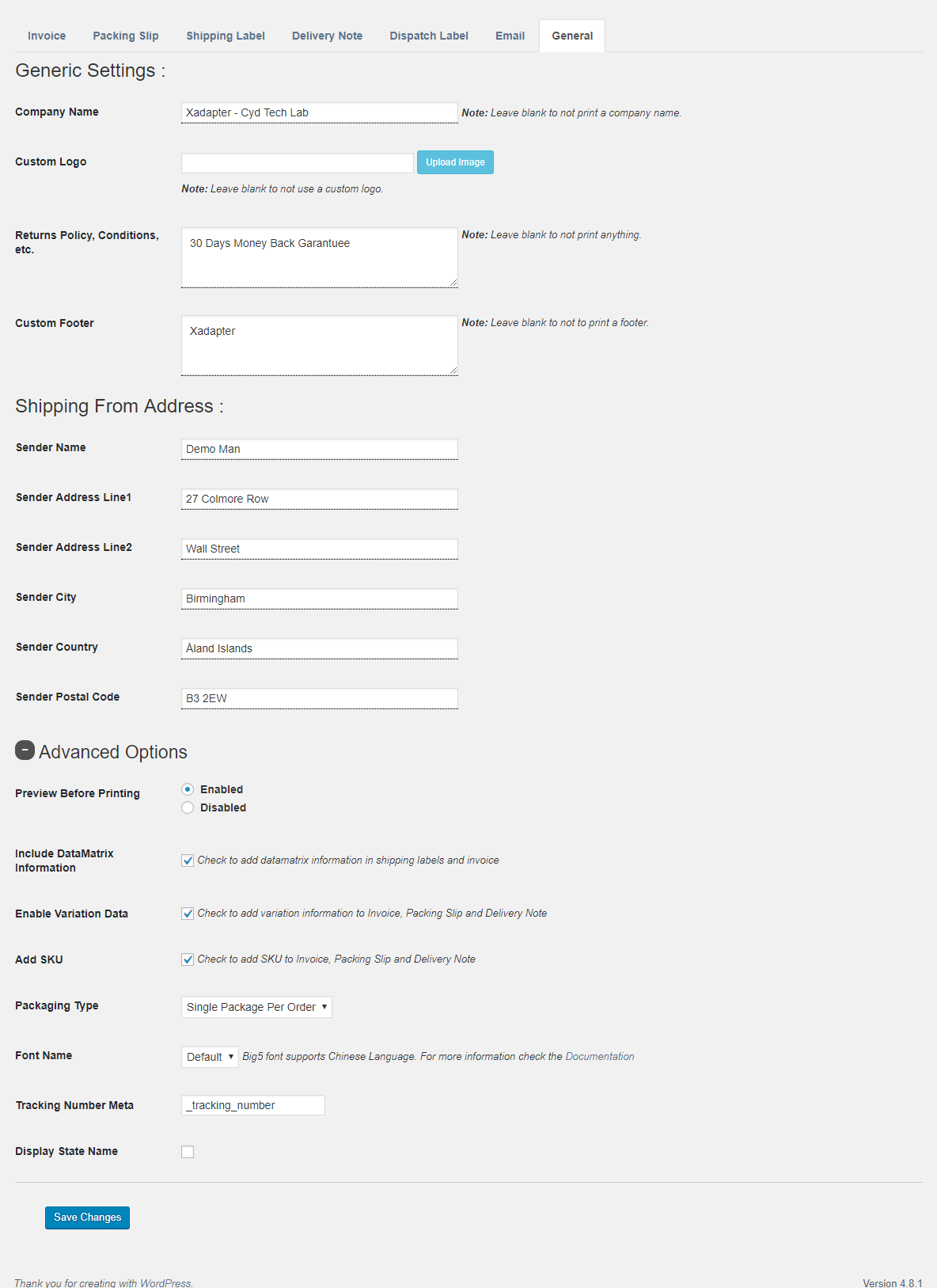 General Settings Page