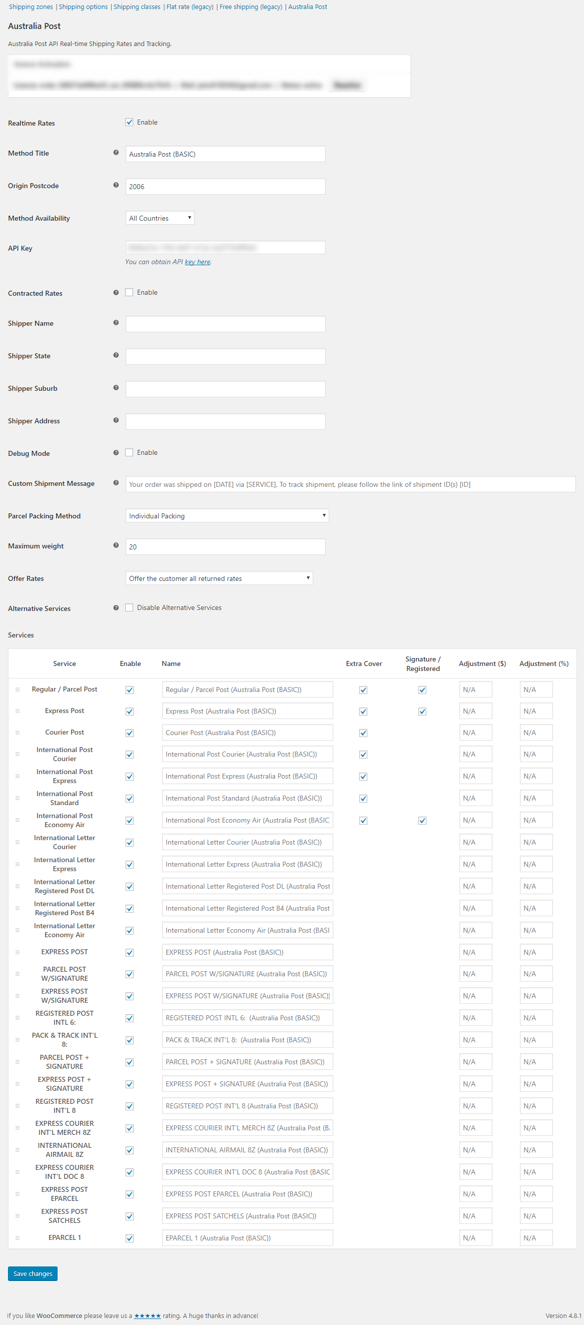The settings page is more detailed compared to the basic version
