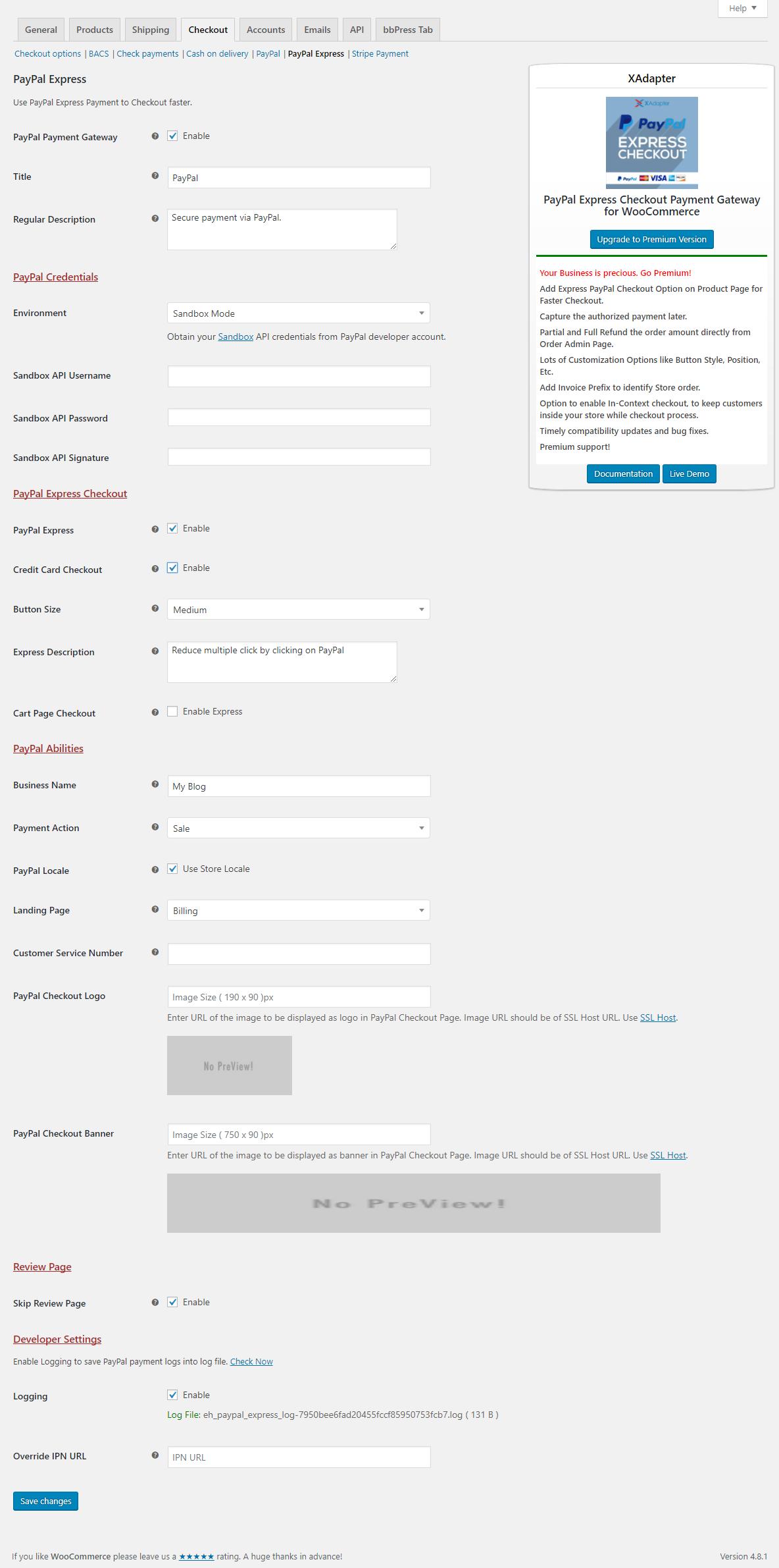 XAdapter PayPal Express Settings Page