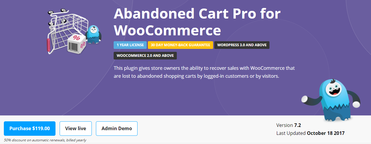 screenshot of Abandoned Cart Pro plugin