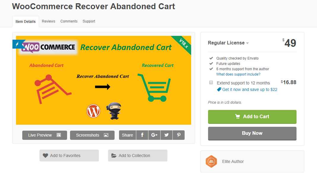 This plugin helps you create an organized, automated campaign to recover WooCommerce abandoned cart.