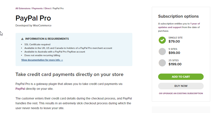 This extension helps WooCommmerce store owners to accept credit card payments directly on the site.
