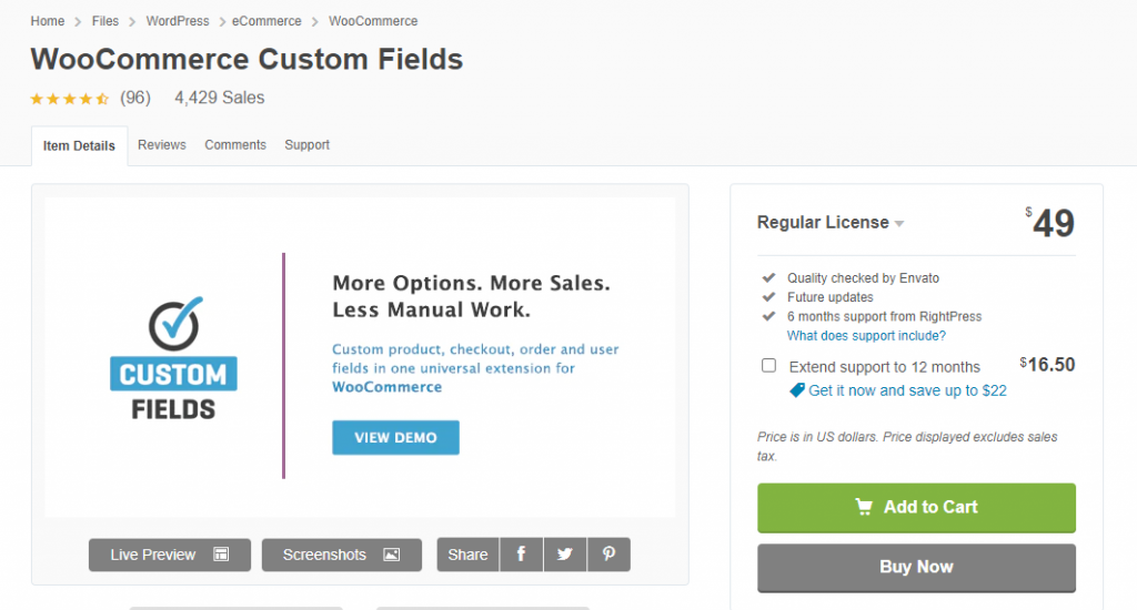 WooCommerce custom fields.