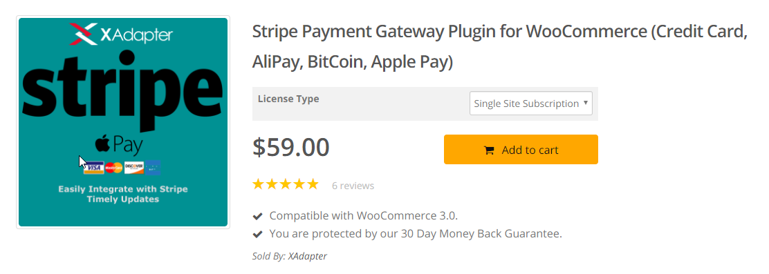 XAdapter's Stripe plugin is a great option if you prefer accepting payments through multiple options like credit cards, Apple Pay, Alipay, Bitcoin, etc.