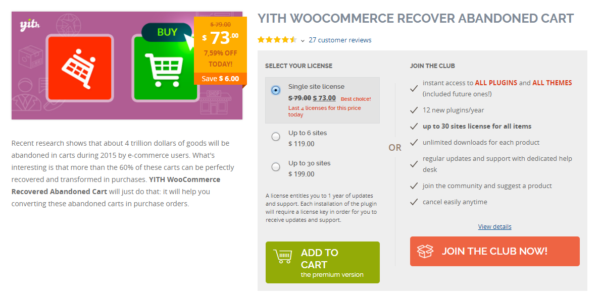 With the help of this plugin, you can devise effective strategies to recover abandoned cart.