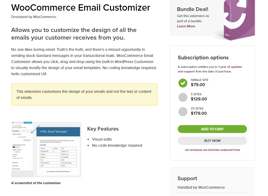 Screenshot of WooComerce Email Customizer Extensions